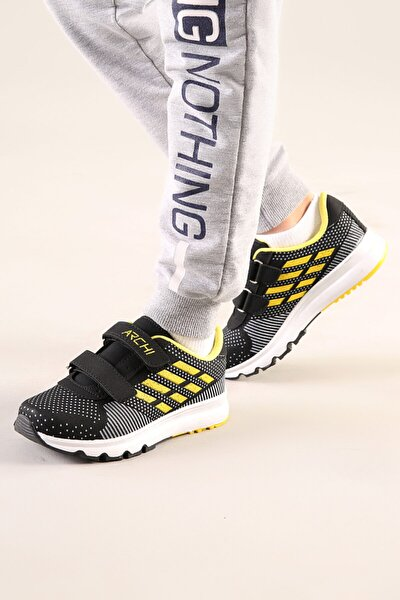 Çocuk Siyah-sarı Anatomik Taban Günlük Spor Ayakkabı