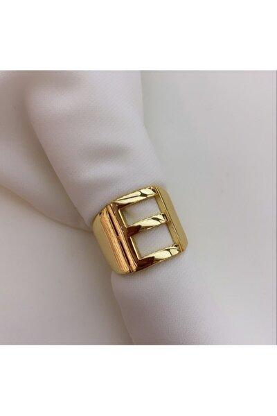 E Harfi Yüzük Gold Rengi Ayarlanabilir