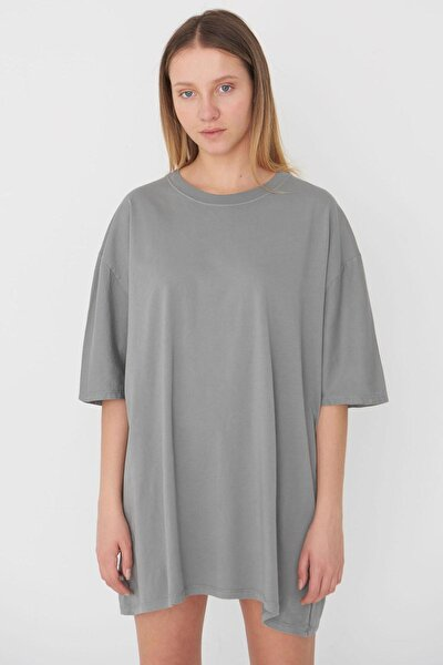 Kadın Gri Oversize T-Shirt P9536 - B13 Adx-0000023955