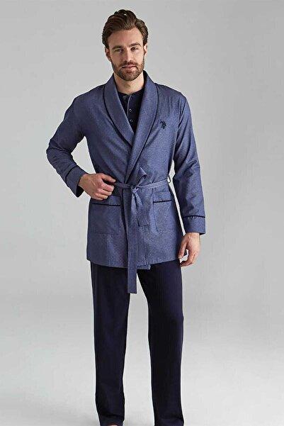 Erkek Lacivert 1 Uzun Kollu Pijama +1 Kısa Kollu Şortlu Takım+1 Sabahlık