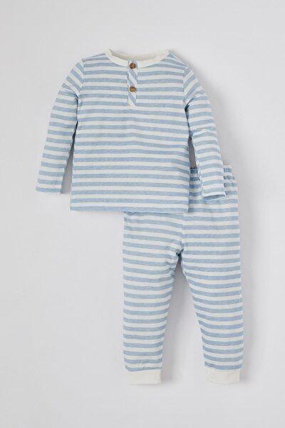 Erkek Bebek Çizgi Desenli Uzun Kol Pamuklu Pijama Takımı