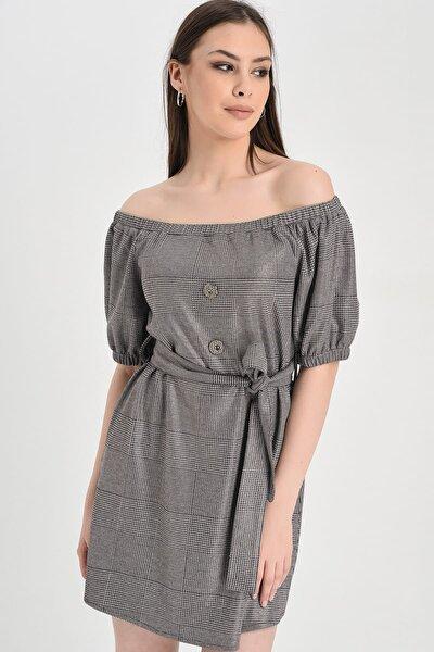 Kadın Gri Ekose Düşük Omuz Kemer Detaylı Süs Düğmeli Elbise Hn1194