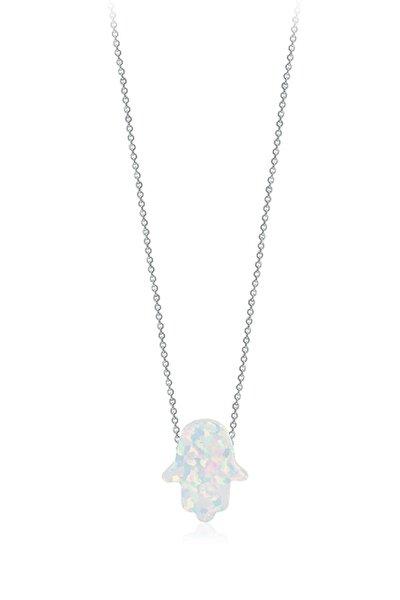 925 Ayar Gümüş Opal Taşlı El Mira Kolyesi SGTL1738