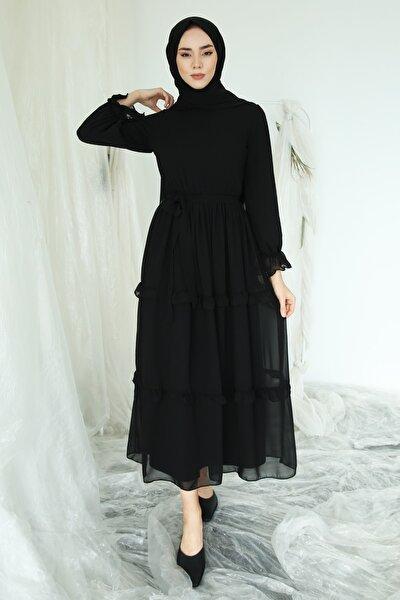 Fırfır Detaylı Kolları Büzgülü Şifon Elbise Siyah