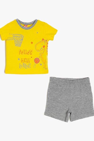 Sarı Erkek Bebek Yazili Baskili T-Shirt Seti