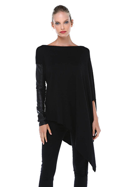 Kadın Siyah Deri Kollu Uzun Tunik BD2408