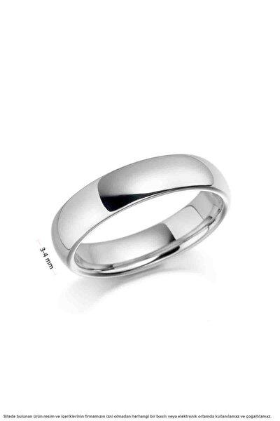 Sade Minimal Bombeli Eklem Gümüş Alyans Söz Nişan Yüzüğü 3 Mm