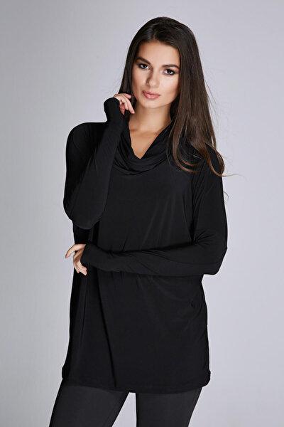 Kadın Siyah Degaje Yaka Bluz 14L4072