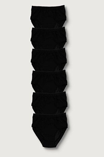 Kadın Siyah 6'Lı Paket Pamuk Ribana Yüksek Bel Bato Külot
