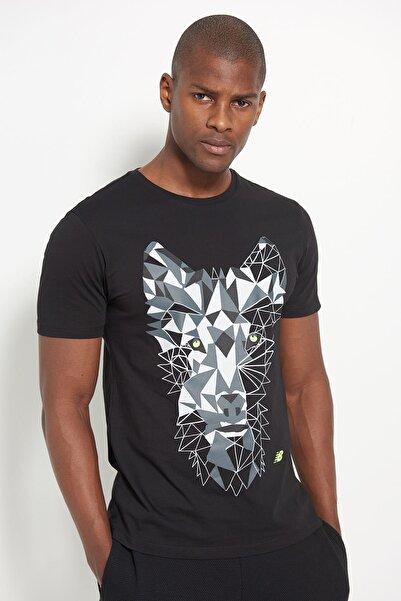 Erkek T-Shirt - NB Wolf Tee - V-MTT902-BK