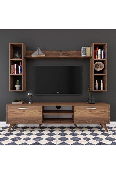 A9 Duvar Raflı Kitaplıklı Tv Ünitesi Duvara Monte Dolaplı Modern Ayaklı Tv Sehpası Ceviz M5