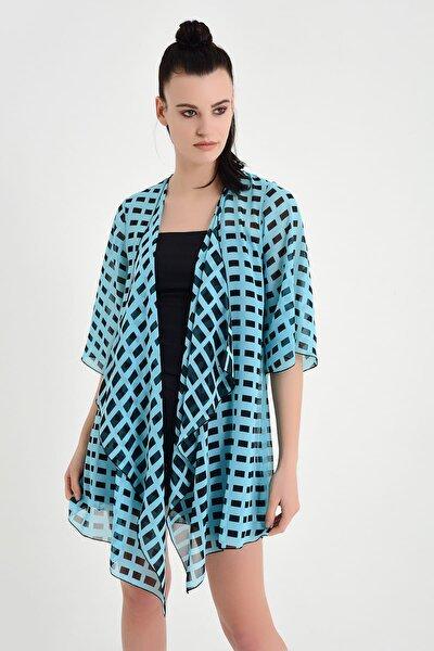 Kadın Mavi Desenli Şifon Kimono 19L6654