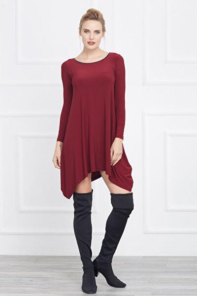 Kadın Bordo Asimetrik Kesim Elbise 14L4082