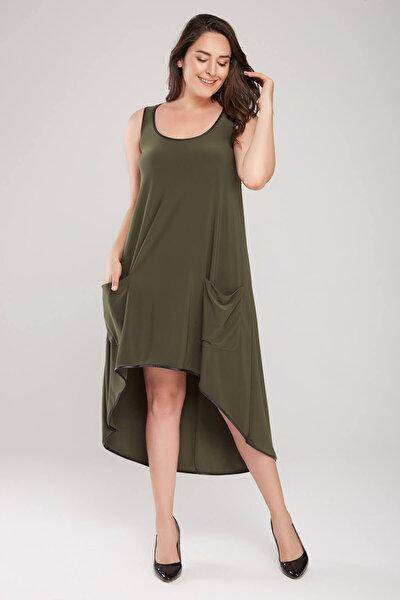 Kadın Haki Asimetrik Kesim Elbise 18L6295