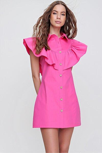 Kadın Fuşya Fırfırlı Poplin Gömlek Elbise ALC-X6195