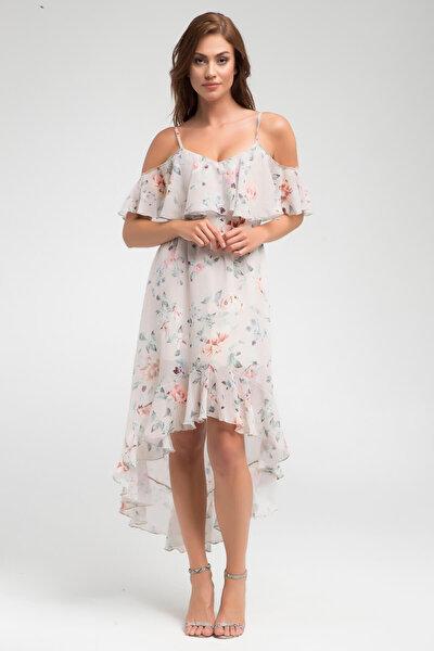 Kadın Desenli Yaka ve Volan Detaylı Asimetrik Kesim Elbise 17L5376