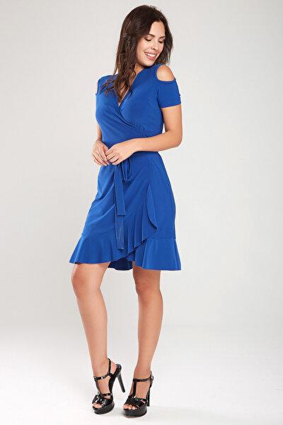 Kadın Saks Kruvaze Kesim Elbise 18L6251