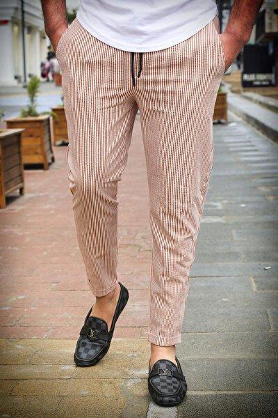 Slim Fit Jogger Çizgili Bordo Pantolon 4036