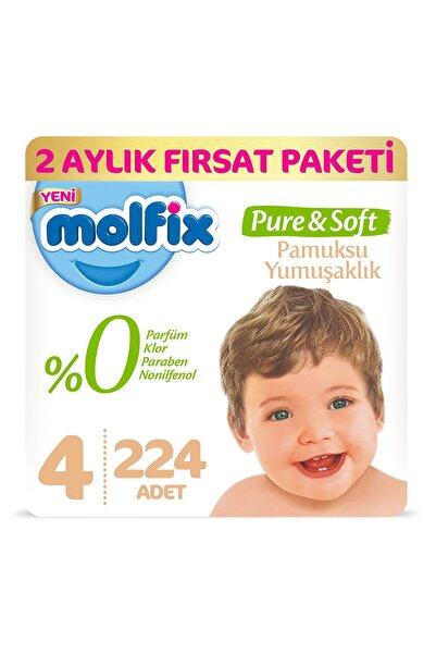 Pure&Soft Bebek Bezi 4 Beden Maxi 2 Aylık Fırsat Paketi 224 Adet