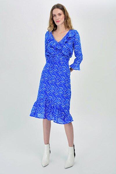 Kadın Mavi Dar Volan Detaylı Etek  Hn1410