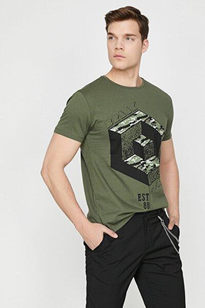 Erkek Yeşil Bisiklet Yaka Kısa Kollu T-Shirt 9YAM11974CK