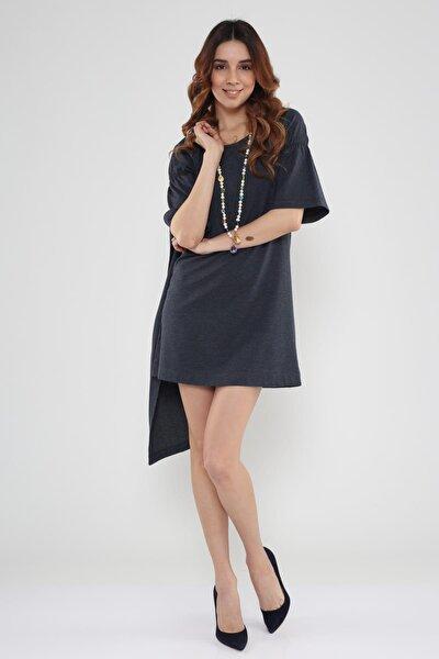 Kadın Lacivert-Gri Kolları Lastikli Diz Üstü Elbise Hn539