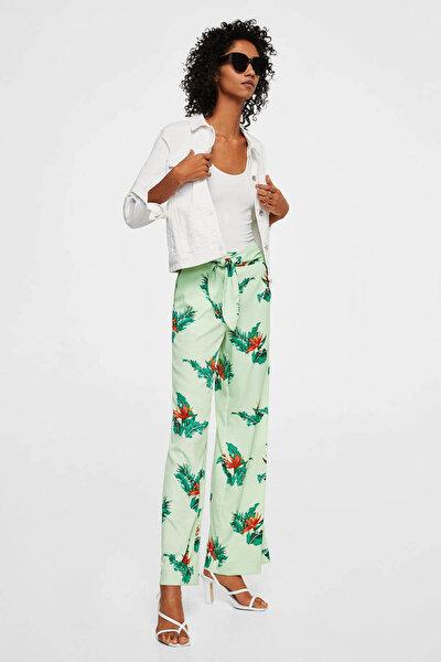 Kadın Pastel Yeşil Desenli Fiyonklu Pantolon 23057008
