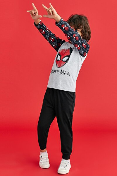 Spider Man Lisanslı Erkek Çocuk Pijama Takımı Siyah