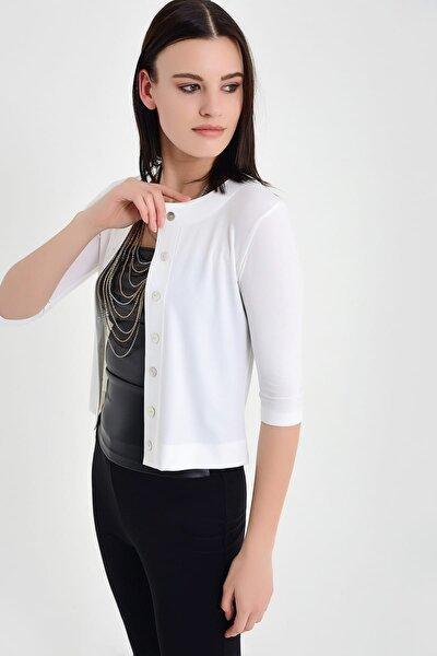 Kadın Ekru Mini Hırka 19L6596