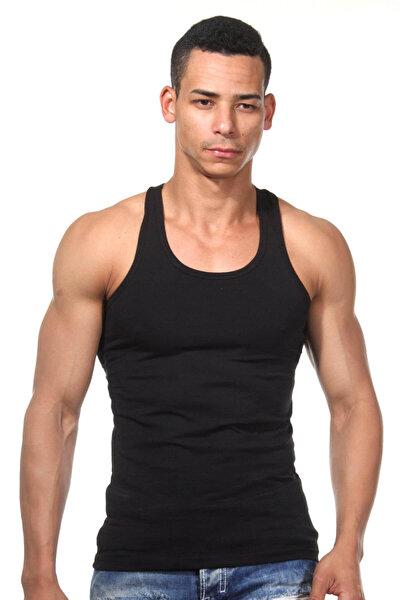 Erkek Renkli Sporcu Dar Kesim Siyah Atlet DZN7201SY