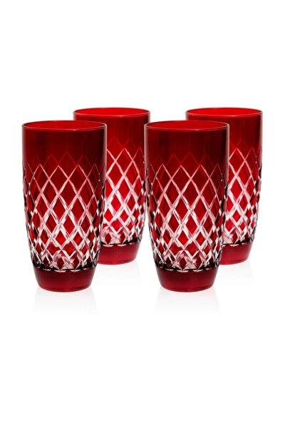 Kırmızı Meşrubat Bardağı 4'lü Set