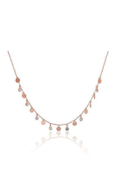 Kadın 925 Ayar Gümüş Pullu Ve Zirkon Taşlı Kolye SGTL5425