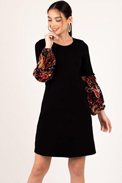 Kadın Siyah Kolu Renkli Balonlu Elbise ARM-19K001215