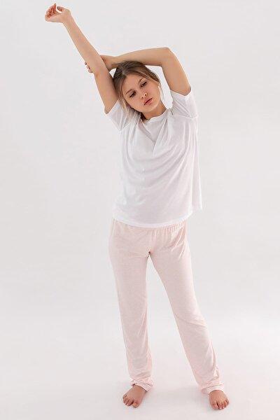 Kadın Pembe Melanj Manşetli Penye Modal Pijama Altı
