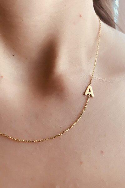 Kadın 925 Ayar Gümüş Altın Kaplama A Harfi Kolye AEGJPX34R