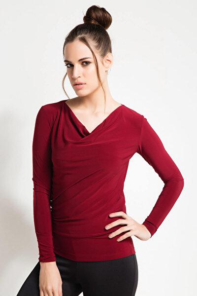 Kadın Bordo Degaje Yaka Bluz 16L4996