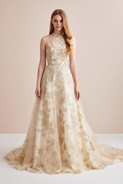 Kadın Altın Rengi Boyundan Bağlı Payet İşlemeli Tül Etekli Abiye Elbise 4XLVC4623