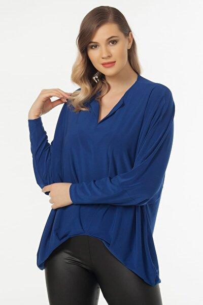 Kadın Saks Yaka Detaylı Bluz 19LB9174