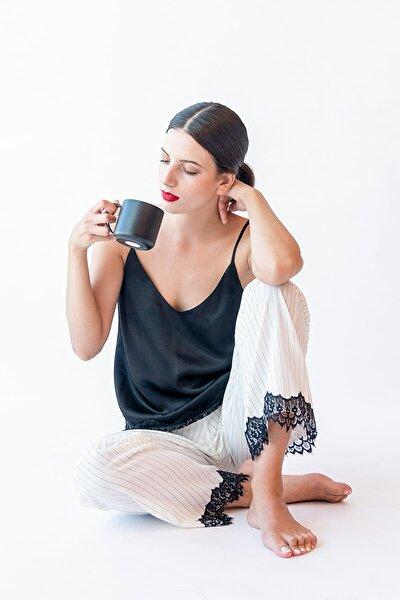 Kadın Ekru Çizgili Dantel Detaylı Cupro Cotton Uzun Pijama Altı