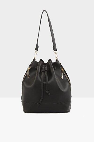 Siyah Kadın Şişe Dipli Büzgülü Fermuarlı Çanta M000002892