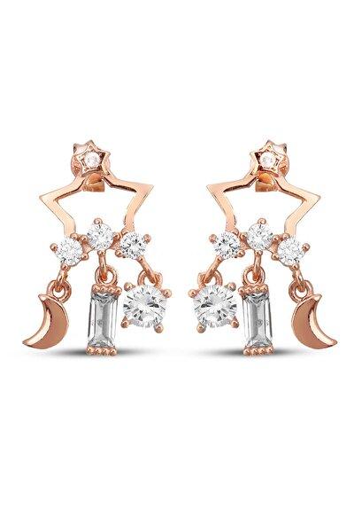 Kadın Sallantılı Gümüş Tasarım Yıldız Küpe K043801