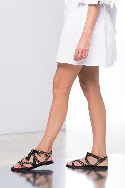 Hakiki Deri Siyah Kadın Sandalet 120120519010