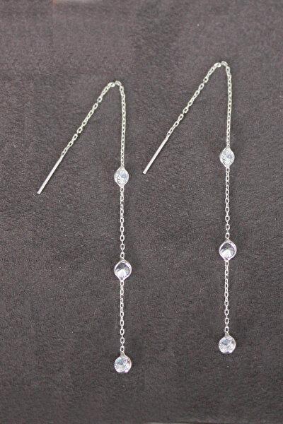 Kadın Sallantılı Üç Taş Gümüş Küpe TGP0100