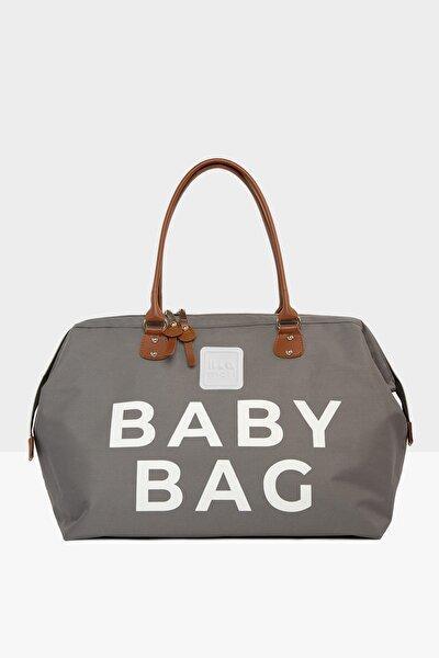 Gri Baby Bag Baskılı Bebek Bakım Çantası