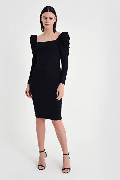 Kadın Siyah Karpuz Kol Detay Elbise 19L6629