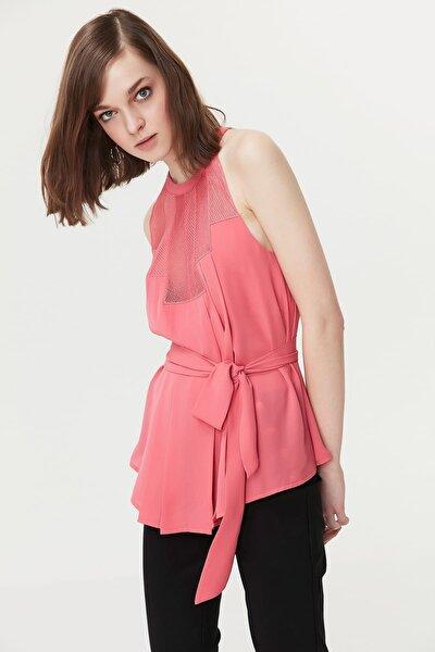 Kadın Pembe File Mix Kuşaklı Bluz IS1190006239033