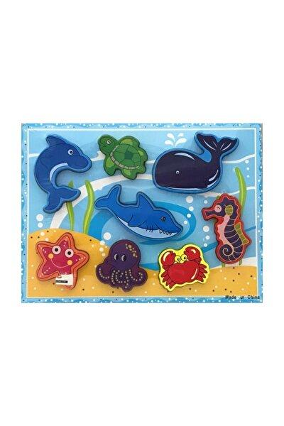 Deniz Canlıları Ahşap 8 Parça Ahşap Eğitici Puzzle /