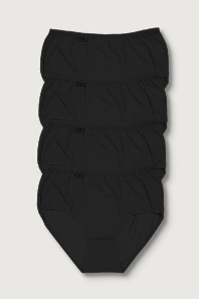 Kadın Siyah 4'lü Paket  Likralı Bato Külot ELF568T0924CCM4
