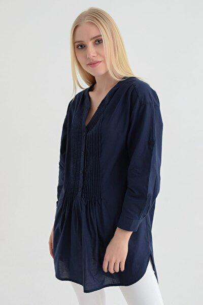 Kadın Lacivert Taş İşlemeli Gömlek  Hn595