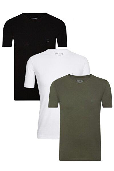 Erkek Siyah Beyaz Haki Pamuk O Yaka 3lü Tshirt